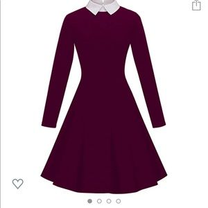 Vintage Style Collar Purple Dress